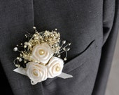 Wedding Mens Boutonniere Pin Ivory Satin Gold Pearls Rustic Shabby chic cottage chic style woodland - rhinestones