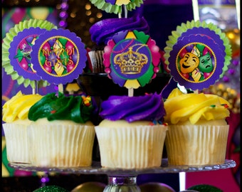 Mardi Gras Cupcake Toppers, Mardi Gras Party, Digital Party Supplies