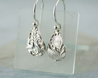 Fine Silver Earrings - Tear Drops With Flower Design - Sterling Silver Hooks