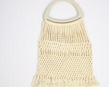 Vintage MACRAME BAG, 60s 70s Hippie bag Boho bag Tote bag Handbag Retro bag Woven bag Crafty Shopper bag
