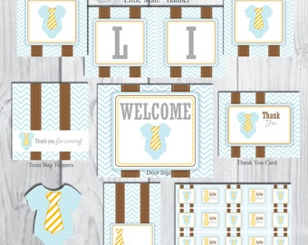 Blue One-Piece Baby Shower Party Package-Little Man Baby Shower Package-INSTANT DOWNLOAD