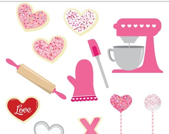 My Sweet Valentine Baking Digital Clip Art - 13 Pieces, Commercial Use, Heart Cookies, Kitchen, Cookie Cutter, Mixer, Sprinkles, Pink, Love