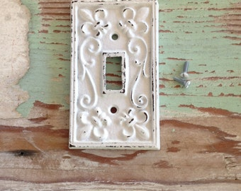 Cast Iron Fleur de Lis Cover for Light Switch / White Distressed  / Decorative Outlet Cover /  Shabby Chic / Coastal