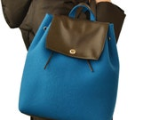 30% OFF - Felt and leather BACKPACK, petrol, wool felt, handmade, high quality, made in Italy