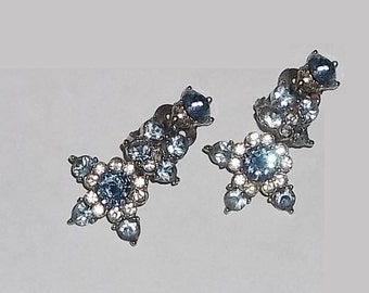Vintage BOGOFF Blue Earrings, 1950s Designer Statement Rhinestones