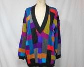vintage 1980s patchwork alpaca sweater / size medium