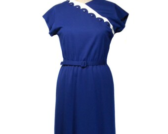 vintage 1980s LESLIE FAY day dress / navy blue white / belted / scalloped / 1960s style dress / women's vintage dress / size 10