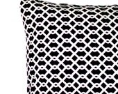 Black and White Decorative Throw Pillow Cover -  Designer Trellis Lattice - 16x16 or 18x18 inch Cushion Cover, Sofa Pillow