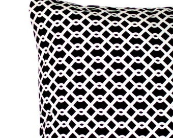 SALE Black and White Decorative Throw Pillow Cover -  Designer Trellis Lattice - 16x16 or 14x14 inch Cushion Cover, Sofa Pillow