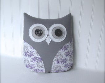 purple owl pillow, purple pillow, purple gray and white owl, purple nursery decor, gift under 40 by whimsysweetwhimsy
