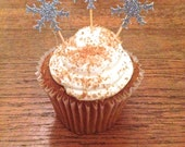 Snowflake Mini - Cupcake Toppers --Christmas Party Decorations /  Frozen Party