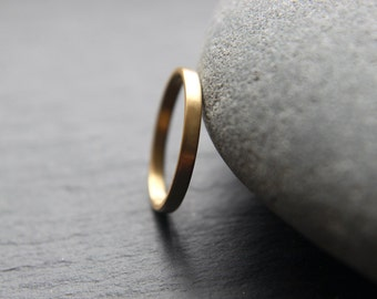 Dainty 2mm wedding ring for her, in recycled 18ct yellow gold, featuring flat profile and brushed finish - made to order