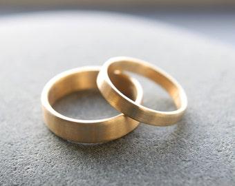 Wedding Ring Set: 18ct Yellow Gold Wedding Band Set, 3mm Womens Ring, 5mm Mens Band, Brushed Finish, Custom Sizes
