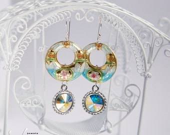 Dangle ice blue statement earrings with blue gold cloisonne, sterling silver hooks, Swarovski aurora borealis crystals, statement earrings