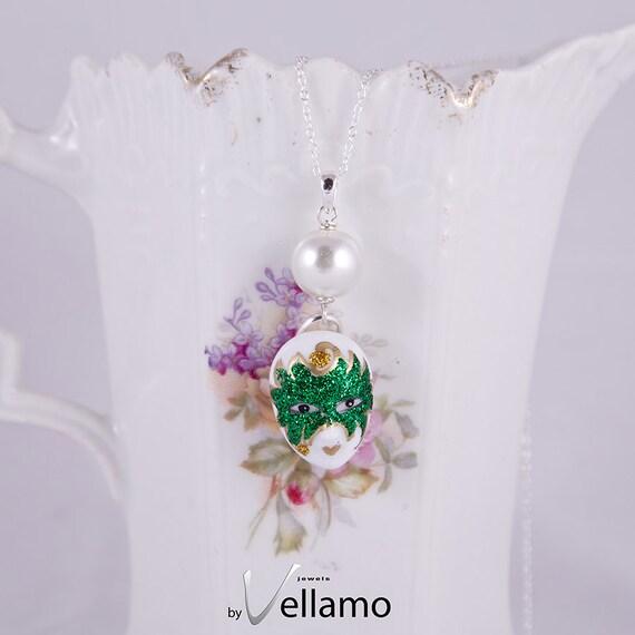 Venetian mask, precious porcelain silver pendant with unique miniature porcelain Venetian mask with white pearl, trendy, fashion necklace