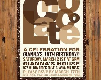 Chocolate Birthday Party Invitation - Chocolate Invitation - Item 0236