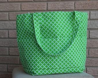 Green Lattice Print Bag