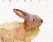 Newborn gift bunny customized nursery print, baby gift for a girl or a boy