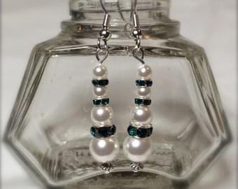 Swarovski Pearl and Emerald Crystal Earrings