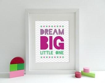 Dream Big Little One - 8x10 inch print - Purple Green Grey - Baby Girl