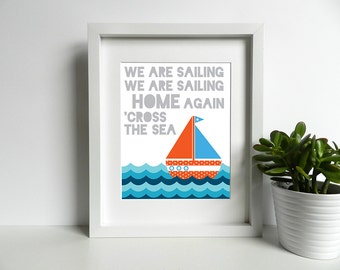 I am Sailing / We Are Sailing - Rod Stewart - 8x10 inch Lyrics Print - Sailboat