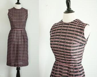 1950s 1960s wiggle dress | vintage 50s 60s cotton dress xs