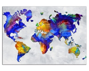 Colorful World Map Art 'Beauty of Color' Rainbow Map Artwork, Abstract Earth Continents, Modern Metal Painting Giclee by Megan Duncanson