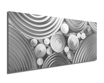 Circle Pattern Art 'Interdiffusion Composition' - Contemporary Metal Artwork Giclée - Monochrome Modern Silver Decor - Rings, Bubbles, Dots
