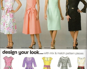 """Women's Dress Pattern, Design Your Look - Size 8, 10, 12, 14, 16,18, Bust 34"""" to 44"""" - New Look 6824 uncut"""