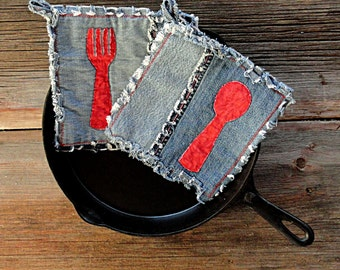 Blue Jeans Pot Holders - Red Spoon Applique Denim Potholders - The Best Potholders Ever .