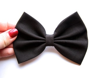 Victoria Hair Bow - Black Hair Bow with Clip