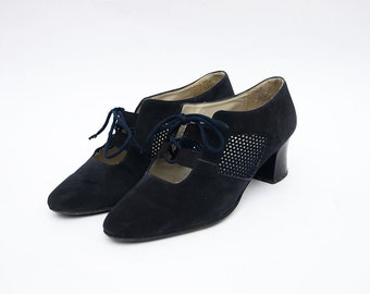 Vintage black leather mesh heeled lace up women shoes / italian pumps sandals