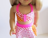 American Girl Doll Clothes, Two Piece Swim Suit, Doll Swim Suit, American Girl Doll Swimsuit