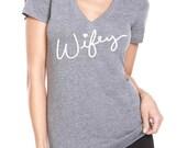 Wifey V-Neck Tee. Premium Heather Tri-Blend Shirt - Bridal Top - Wedding Day Shirt - Size S-XXL