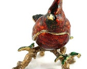 Cyber Sale Vintage Swarovki Crystals / Bejeweled / Red Cardinal Bird / Hinged Trinket / Box with Magnetic Closure / Jewelry Box