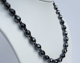 Magnetic hematite necklace - swirly stone beads - custom sized