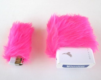 Stoner Girl Gifts, Cute Girly Cigarette Case Fuzzy Pink Bic Lighter Case, FREE SHIPPING 90s Rave Smoke Box Holder, Lighter Case, Faux Fur