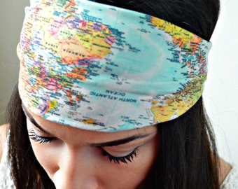 World Map Stretchy headwrap, headband, Spotted head wrap