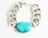 Chunky Chain Link Bracelet with Turquoise Howlite - Glossy Silver Chunky Chain