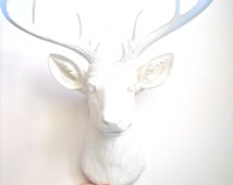 X-Large Faux Taxidermy Deer Head wall mount hanging nursery kids rooms office home decor:  Doug the XL Deer head in all white