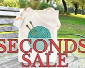 SECONDS SALE Blue Wool Illustration Tote Bag