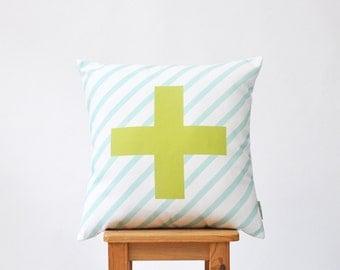 """Cross Pillow, Decorative Pillow, Modern Nursery Pillow, Geometric Kids Pillow, Throw Cushion, Blue Green Pastel 16"""" x 16"""""""