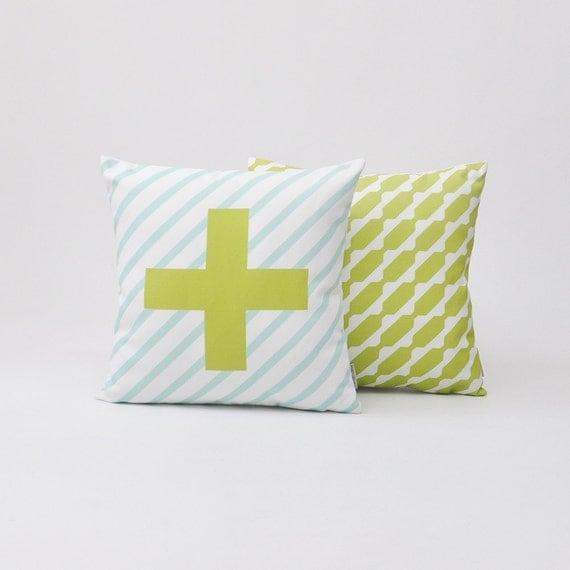 Green Geometric Throw Pillow : Green Decorative Pillow Set Geometric Nursery by LoveJoyCreate