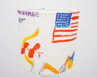 USA Table Lampshade Drum Medium USA Lamp Shade Linen Fabric Home Lampshade Table Lampshade Printed Lampshade Table Drum American Flag