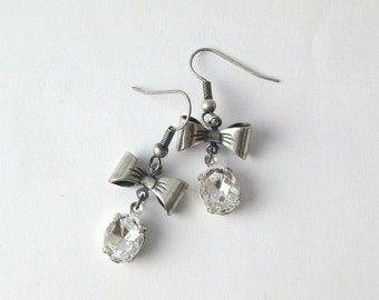 FREE SHIPPING Crystal Bow Dangle Earrings