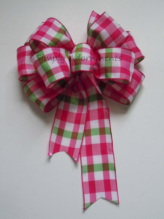 Pink Green Plaid Bow Pink Green Spring Plaid Bow gift Flower basket Bow Pink Green Gift Wrap Bow Wedding Church Pew Bow Party Decor Bow