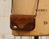Vintage Brown Leather Cross Body Wallet Small Purse