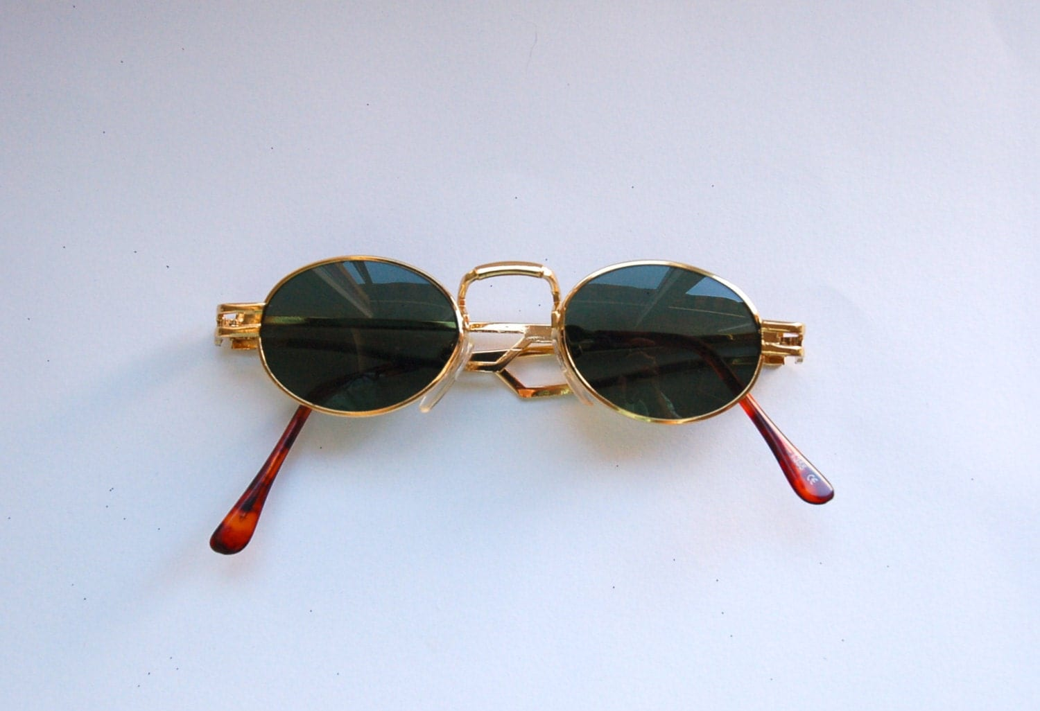 Gold Frame Oval Sunglasses : Authentic Vintage 90s Circle Sunglasses/ Oval Shades w Gold