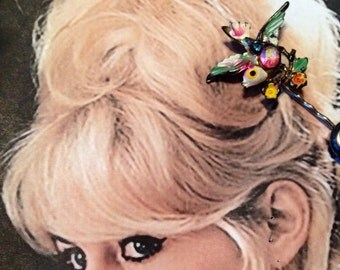 Vintage Bird Hair Pin 1940's Spring Painted Bobby Pins (1)