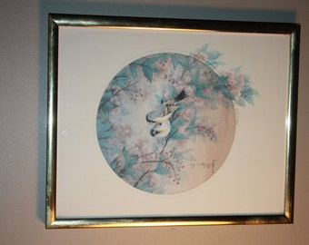 Vintage Limited Edition Numbered John Cheng Signed Print, Framed, Finches in Blossom Tree, Number196/950, Excellent Condition, Ready to Hang